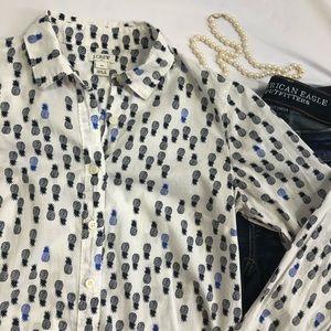 J.CREW Button Down shirt Pineapple Print XS  A15